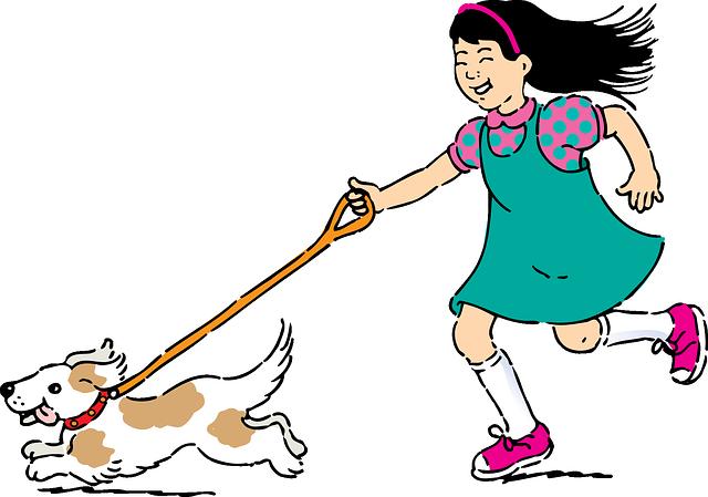 犬と一緒に散歩している少女のイラスト