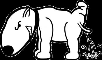 おしっこをする犬のイラスト